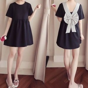 Bow Back Mini Babydoll Dress - Medium